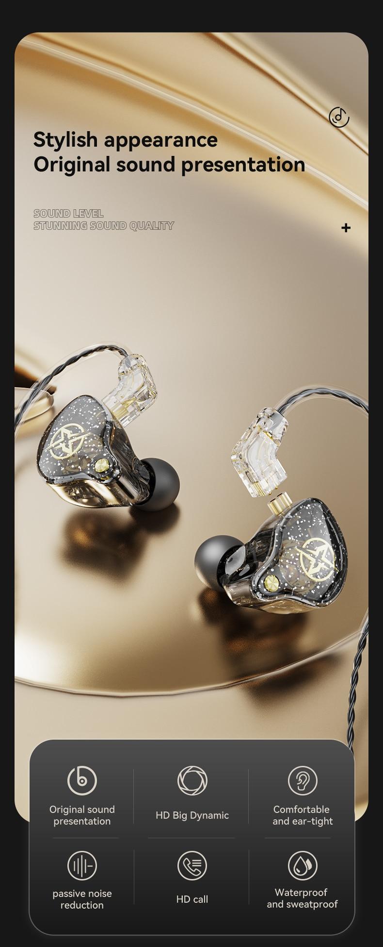 X2 pro 3.5mm destacável fones de ouvido com fio dupla dinâmica alta fidelidade fone baixo estéreo músico monitor esporte correndo